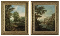 An extensive wooded landscape with a muleteer and a cattle drover, a farm, a river and mountains beyond; and An extensive river landscape with shepherds on the riverbank, a bridge, clifftop buildings and mountains beyond