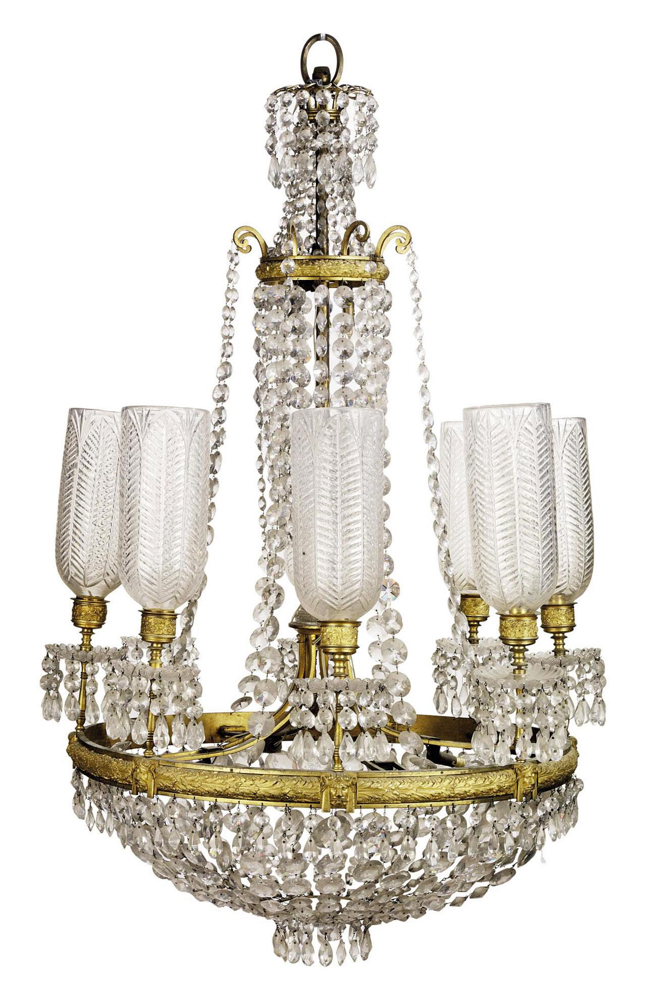 A REGENCY ORMOLU AND CUT-GLASS EIGHT-LIGHT CHANDELIER