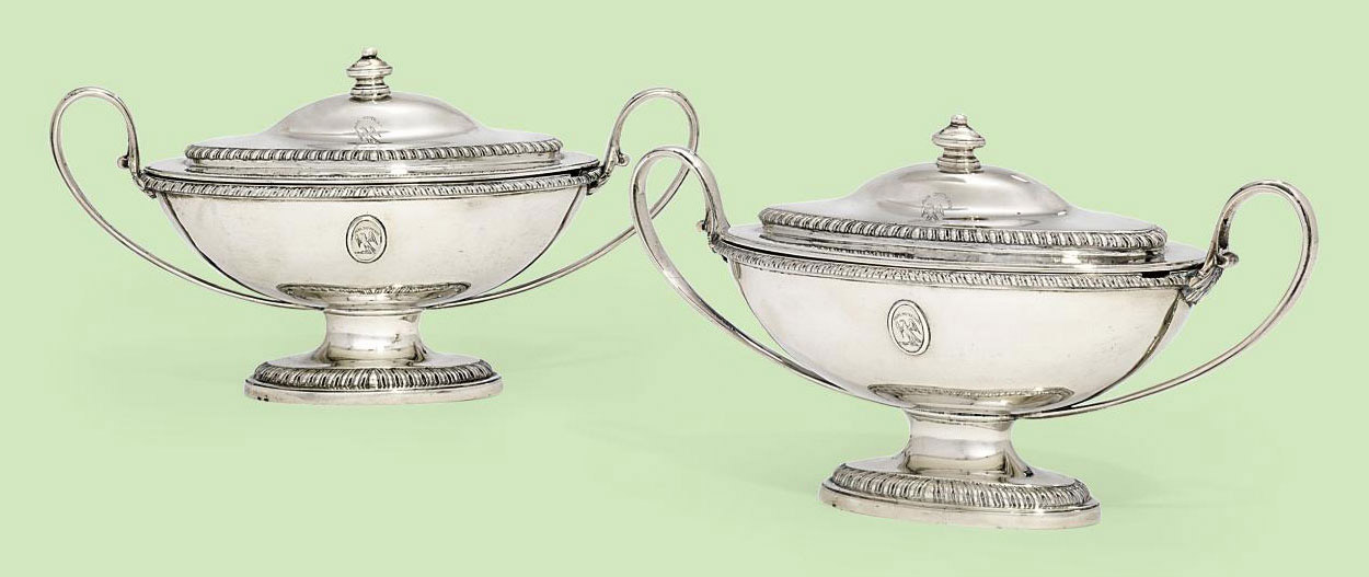A PAIR OF GEORGE III SILVER SAUCE-TUREENS AND COVERS