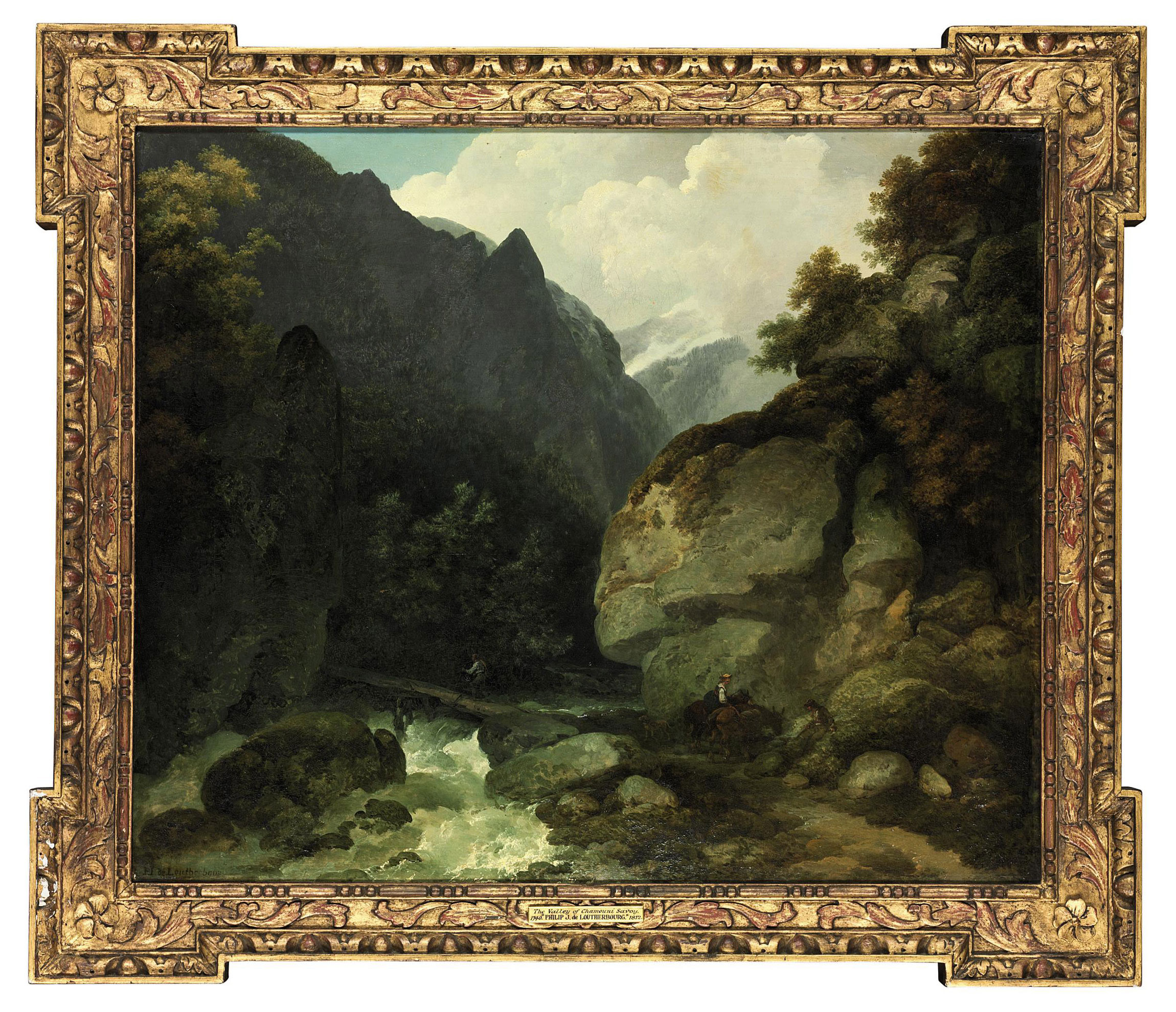 A mountainous river landscape in the Alps, with travellers on a path