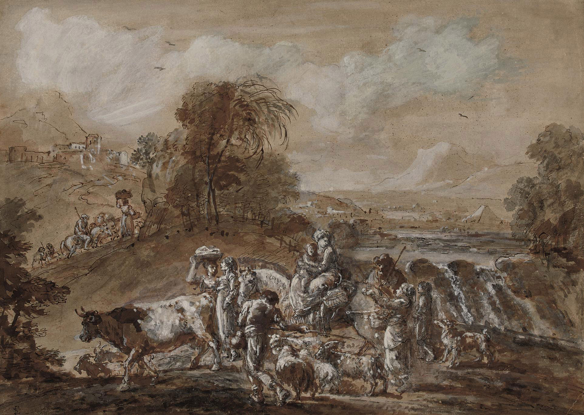 An Italianate landscape with a waterfall and travellers and livestock