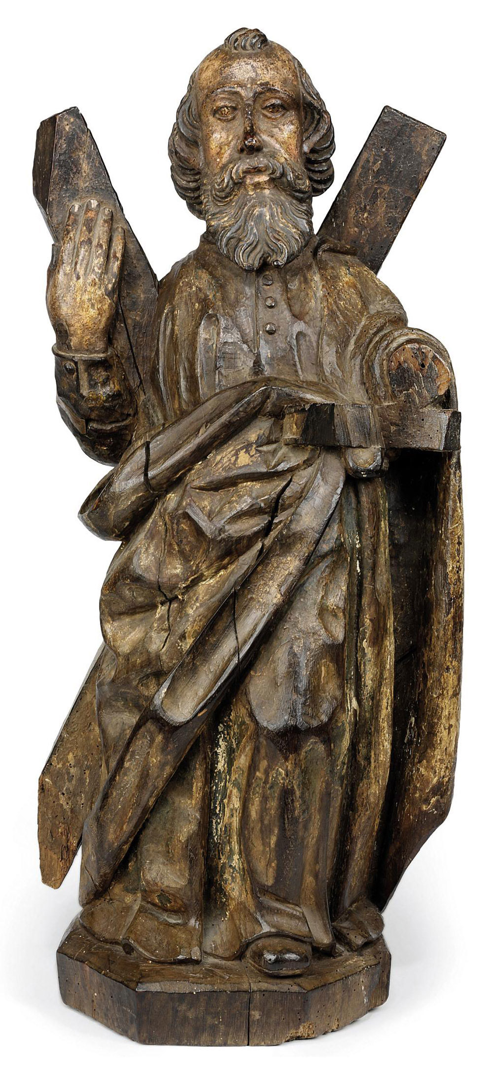 A CARVED WOOD FIGURE OF ST. ANDREW
