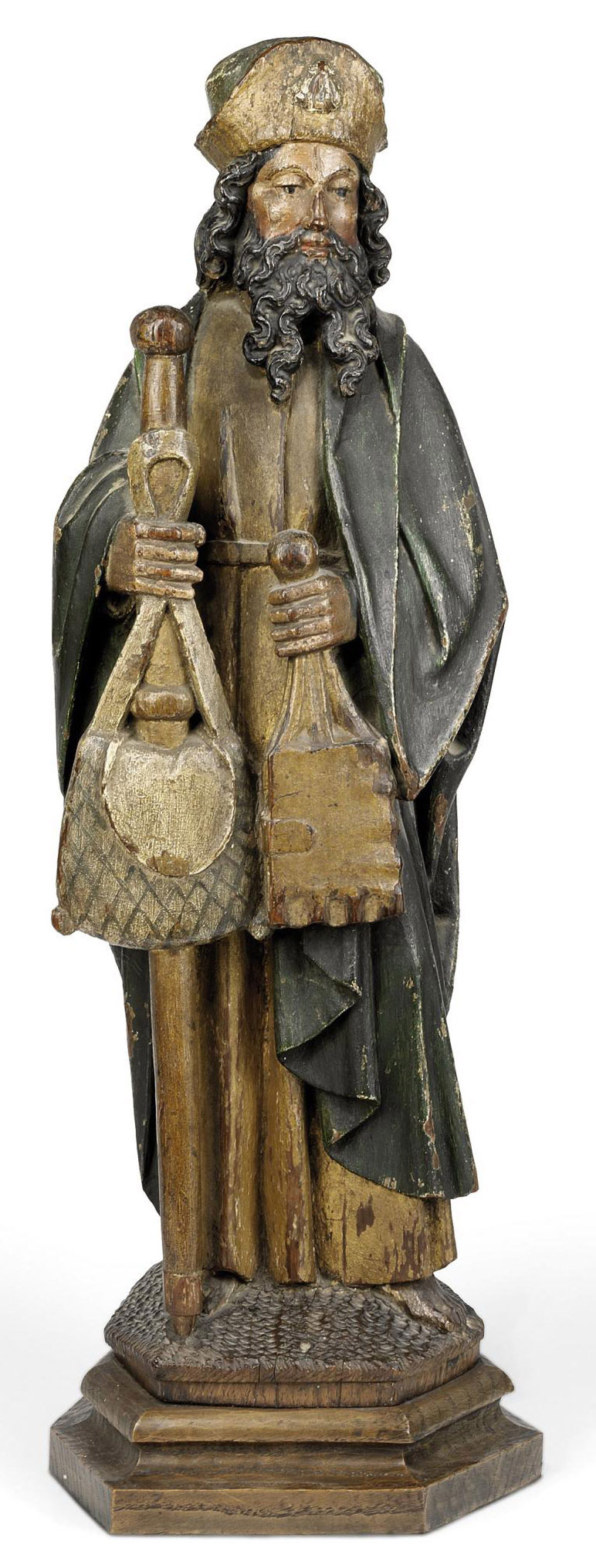A POLYCHROME CARVED WOOD FIGURE OF ST. JAMES OF COMPOSTELA