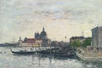 Venise. Le môle à l'entrée du Grand Canal et la Salute le soir