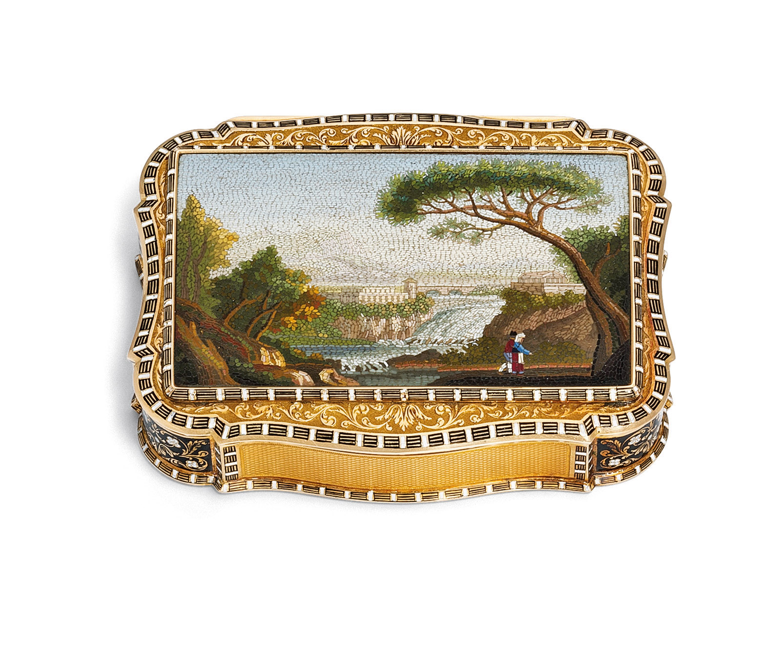 A FINE SWISS ENAMELLED GOLD SNUFF-BOX SET WITH A ROMAN MICROMOSAIC PLAQUE