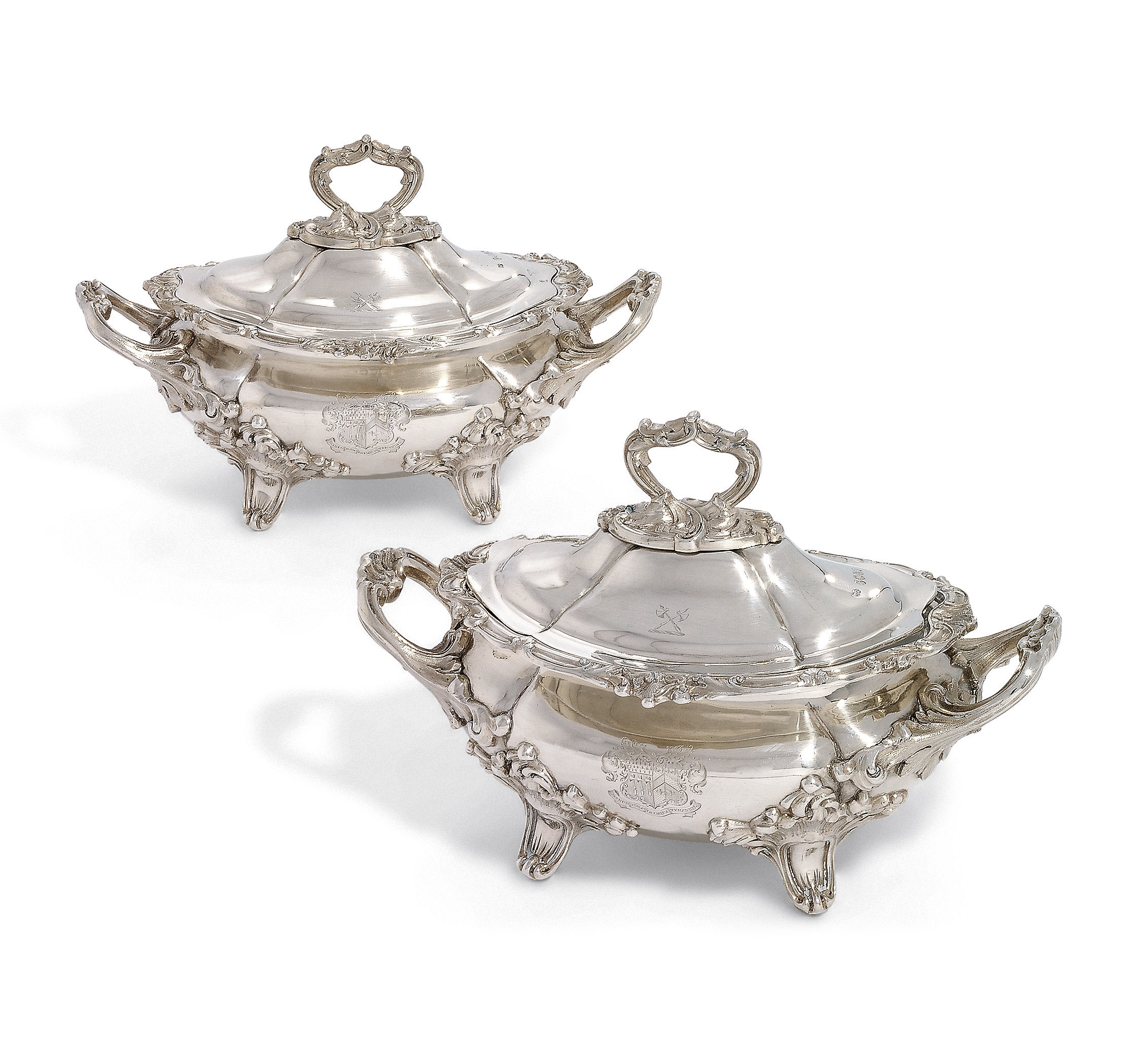 A PAIR OF VICTORIAN SILVER SAUCE-TUREENS AND COVERS