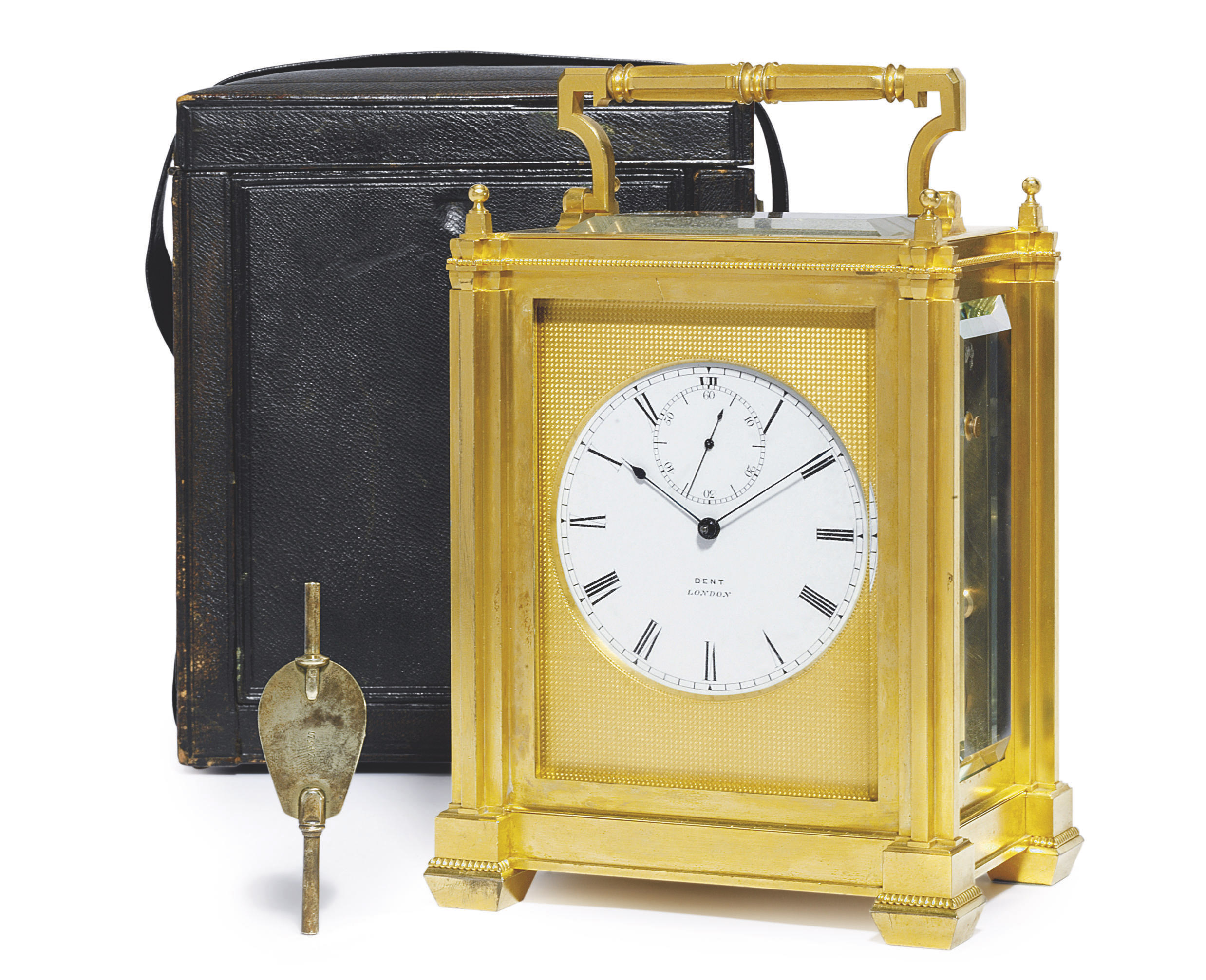 A VICTORIAN GIANT GILT-BRASS STRIKING AND REPEATING EIGHT DAY CHRONOMETER CARRIAGE CLOCK WITH STAPLE BALANCE