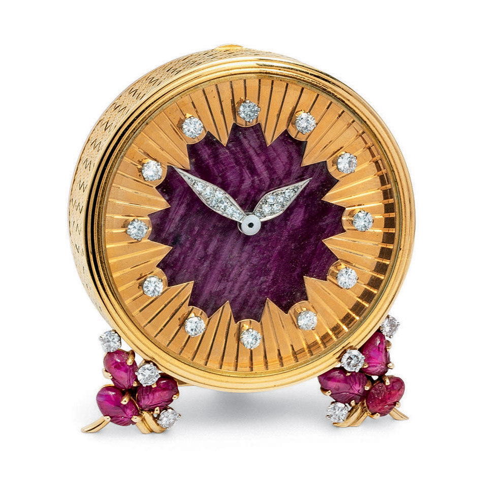 A RUBY AND DIAMOND TRAVEL CLOCK, BY ASPREY