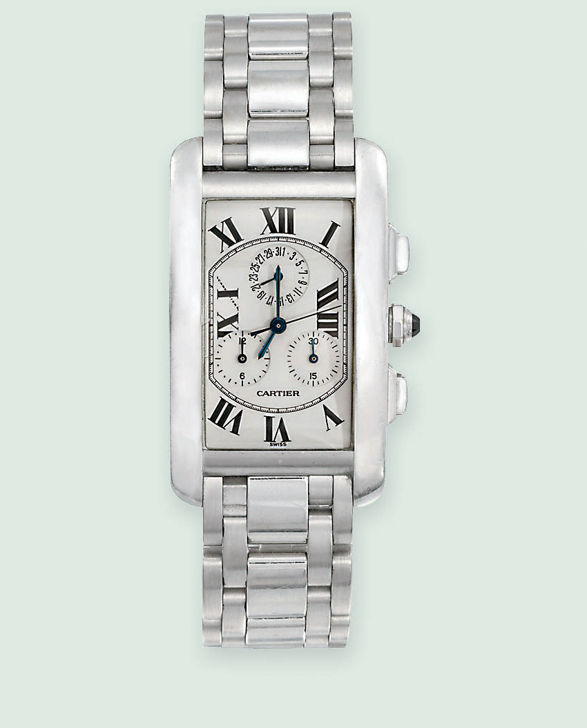 AN 18 CARAT WHITE GOLD 'TANK AMERICAINE' WRISTWATCH, BY CARTIER
