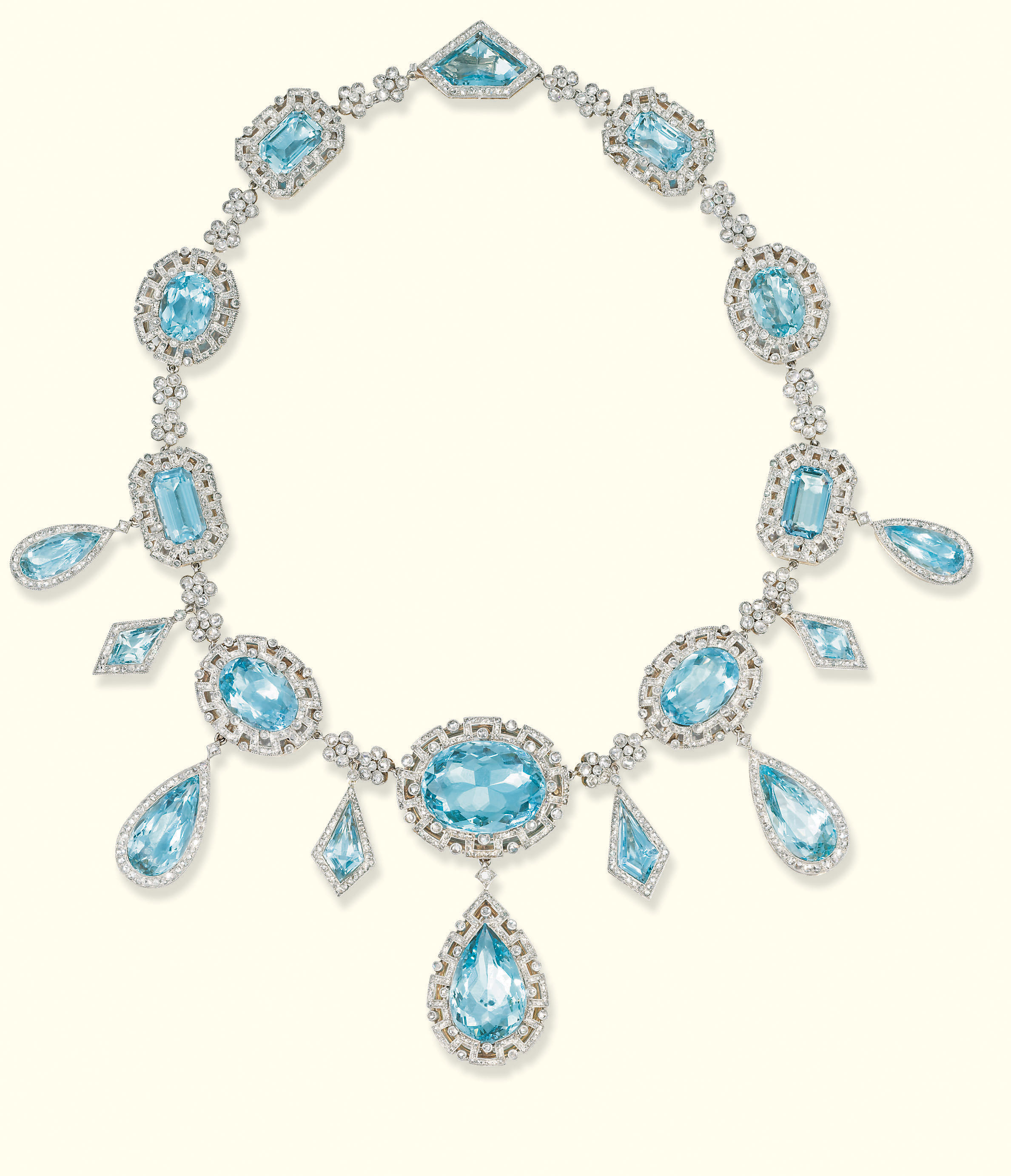 A FINE BELLE EPOQUE AQUAMARINE AND DIAMOND NECKLACE, BY KOCH