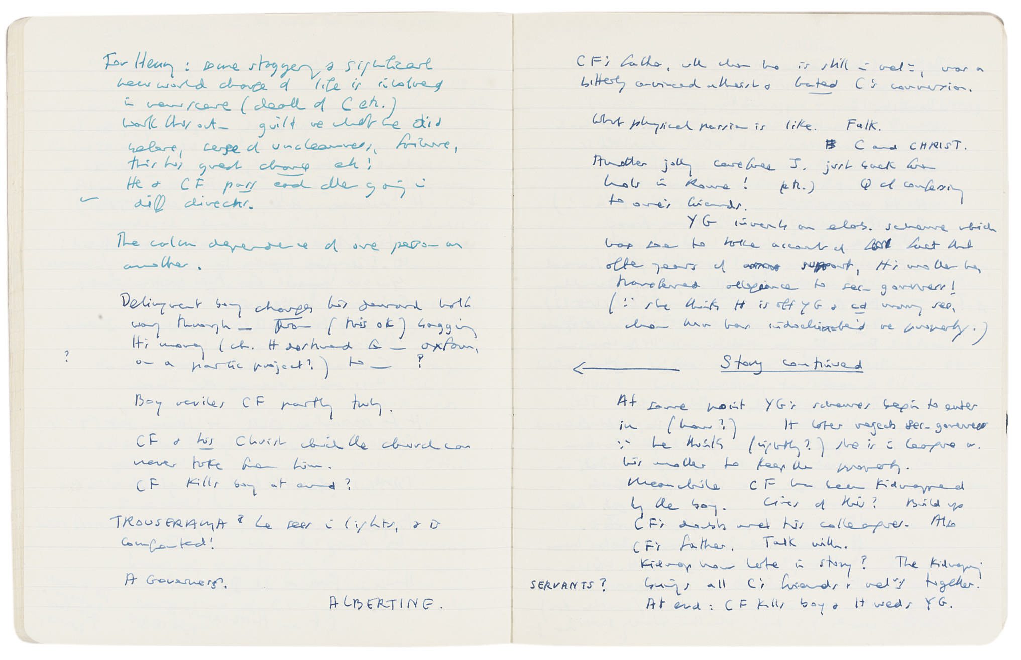 MURDOCH, Dame Iris (1919-1999). Two autograph manuscript notebooks, each entitled 'Notes for Novel', one signed ('Iris Murdoch'), the first, numbered 'IX', containing notes for The Nice and the Good, comprising 'Plan V' and a series of 'Questions' (in fact drafts in note form) numbered 1-12, followed by (ff.26-80) an extensive section of the continuous draft, Steeple Aston, some sections dated 22 January - 20 February 1966, the second containing notes for Henry and Cato, the majority comprising unstructured memoranda, on a number of occasions revising 'Characters so far' or 'Possible story so far' (later simply 'Story'), as well as 'Problems' and other headings, Cedar Lodge, Steeple Aston, and Little Cheney, some sections dated 12 April - 10 August 1974, 80 + 80 leaves, 4to (252 x 200mm), in exercise books, stiff paper covers. Provenance: sold by Murdoch to the present proprietor as part of the contents of her house in Steeple Aston.