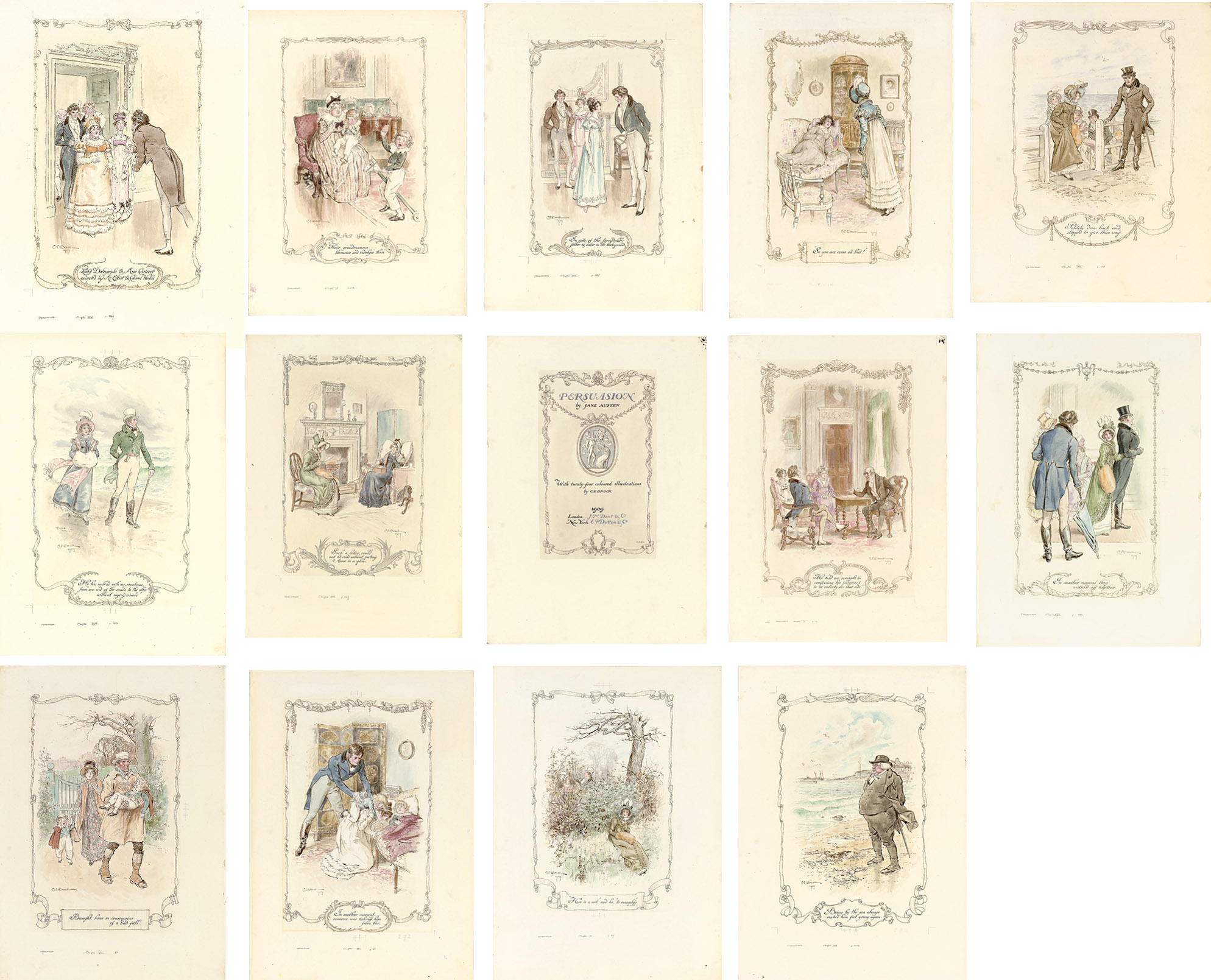 BROCK, Charles Edmund, R.I. (1870-1938). A series of fine ink and watercolour drawings for Jane Austen's Persuasion, 1909.