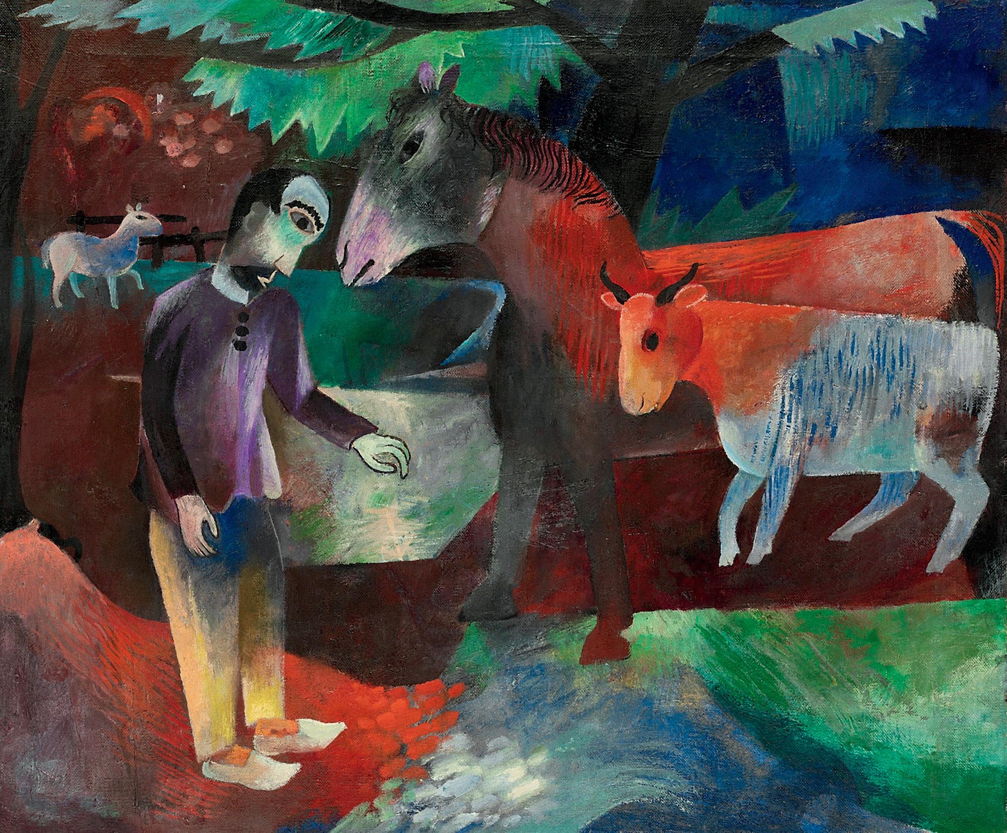 Mann, Pferd, Kuh