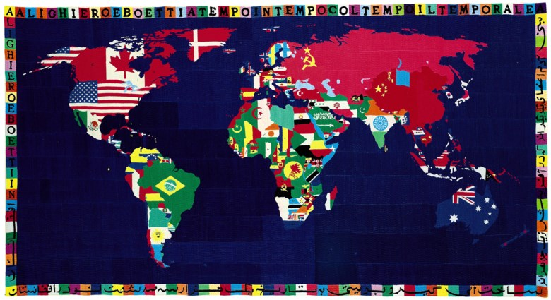 Alighiero Boetti (1940-1994), Mappa, executed in 1989. 45⅝ x 85½ in (116 x 217 cm). Sold for £1,833,250 on 30 June 2010 at Christie's in London © DACS 2018
