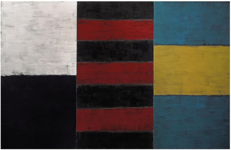 Sean Scully, One Yellow, 1985. Oil on canvas. 72 x 112 in (183 x 284.5 cm). Sold for £769,250 on 30 June 2010 at Christie's in London. © Sean Scully