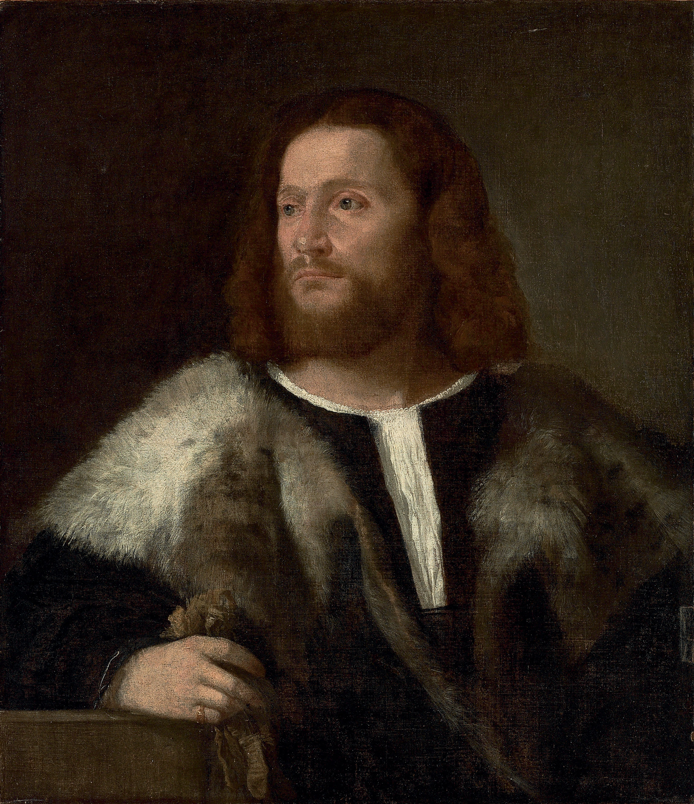 Portrait of a gentleman, half-length, in a fur mantle, holding gloves, his arm resting on a ledge