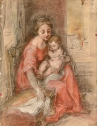 The Madonna and Child beside a crib in an interior, Saint Joseph seen reading through a doorway to the right