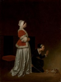 A lady and her maid chastising a spaniel (Le Chien Epagneul, ou Les Exercise du Petit Chien)