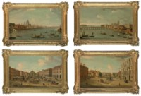 Four views of London: The Thames looking towards St. Pauls; The Thames looking towards Westminster; Covent Garden; and The Privy Garden, Whitehall