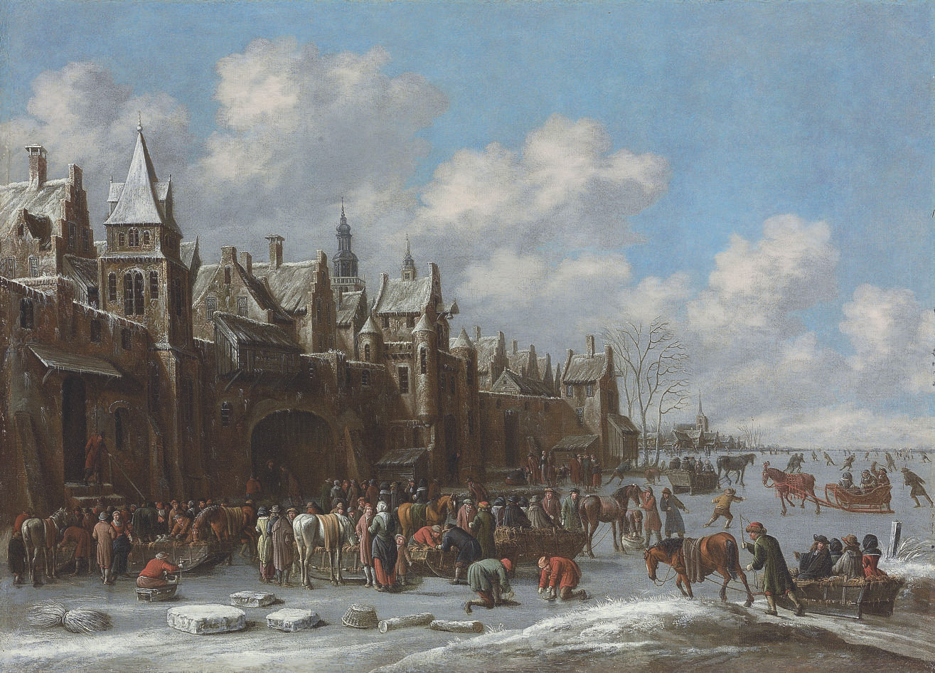 A winter landscape with villagers on a frozen lake outside a town