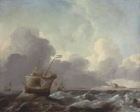 Dutch man-of-war in stormy waters