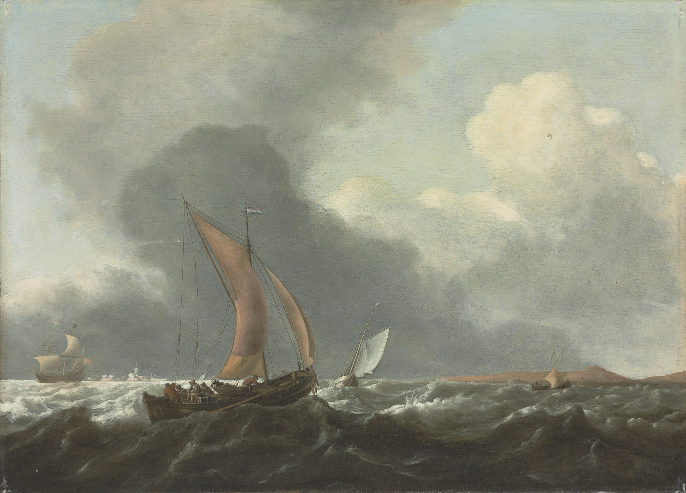Dutch ships in stormy waters