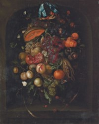 Grapes, pomegranates, apricots and other fruit in a niche