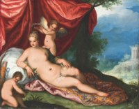 Venus reclining in a wooded landscape, attended by putti