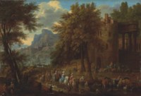 A wooded landscape with an elegant company passing through architectural ruins, with a castle and harbour beyond