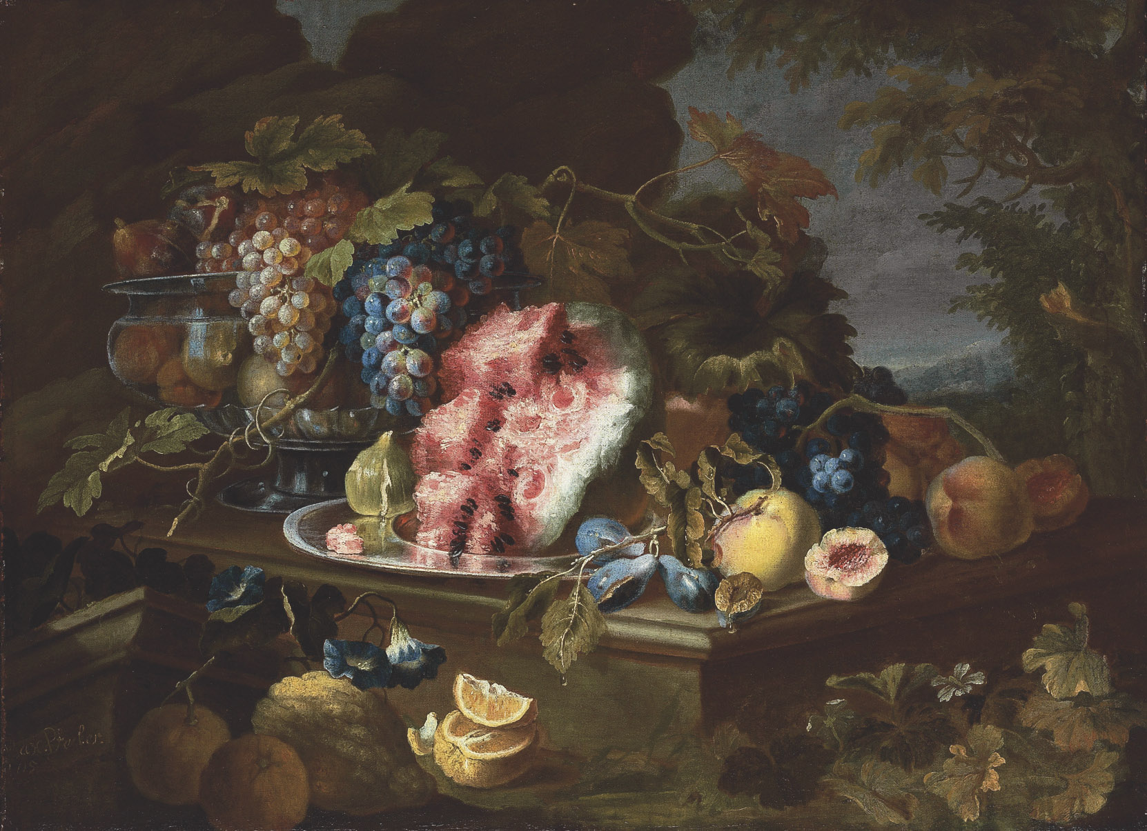 Lemons, pears, a fig, a watermelon, plums, and grapes in a metal vessel on a stone table