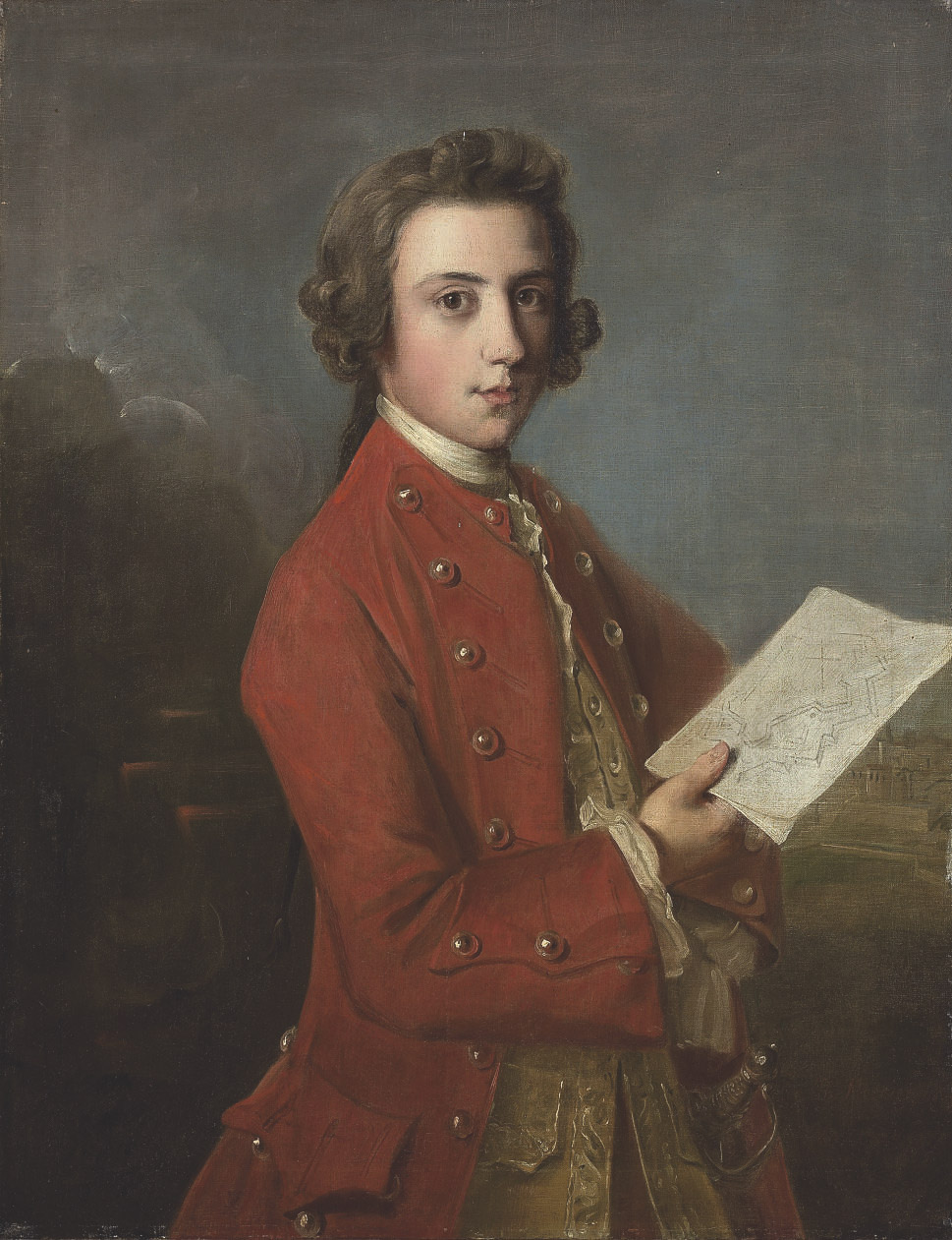 Portrait of a boy, said to be General James Wolfe, three-quarter-length, in a red coat, holding plans of fortifications