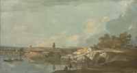 An extensive river landscape, with fishermen in the foreground
