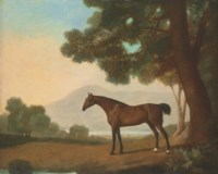 Lord Clermont's Bay racehorse Johnny, in a wooded landscape, with a lake and hills beyond