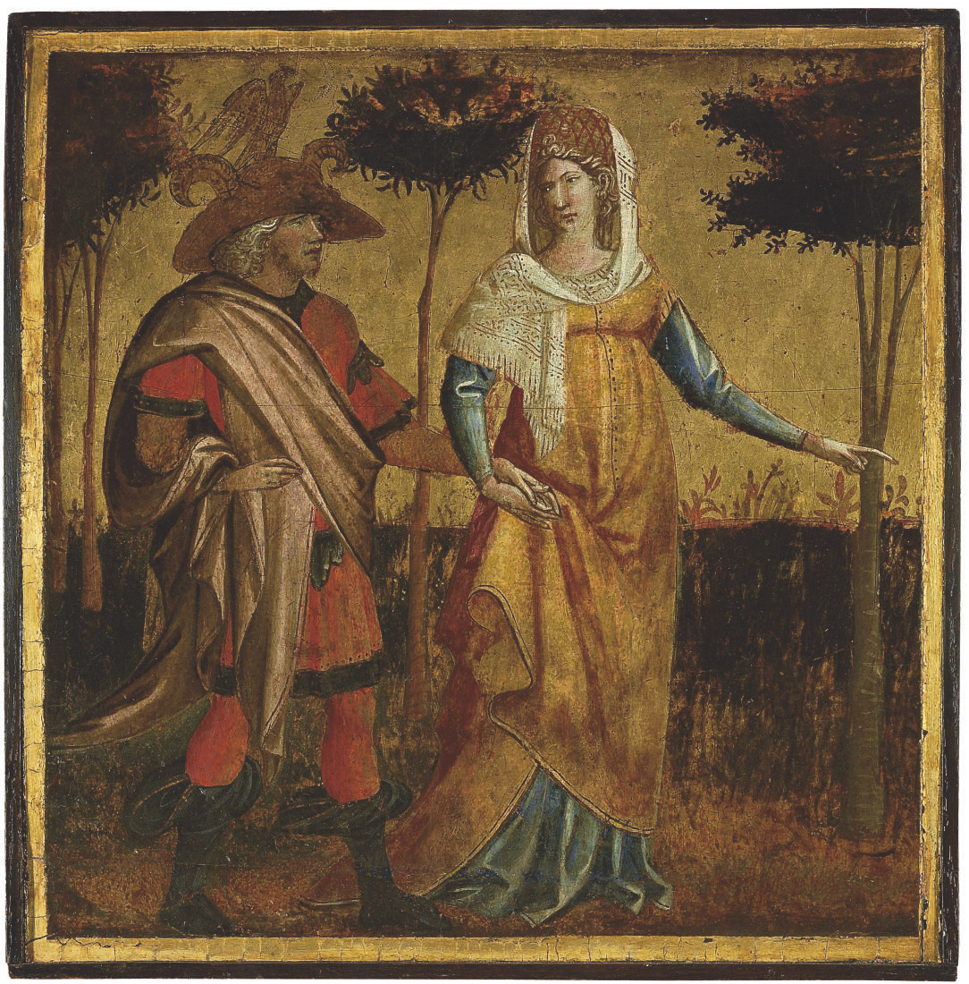 A nobleman and lady - panel from a cassone or spalliera