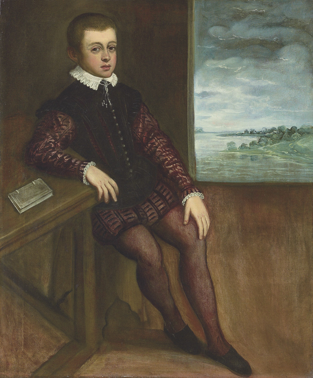 Portrait of a boy, full-length, seated by a window