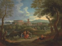 A capriccio in the Roman campagna with classical figures