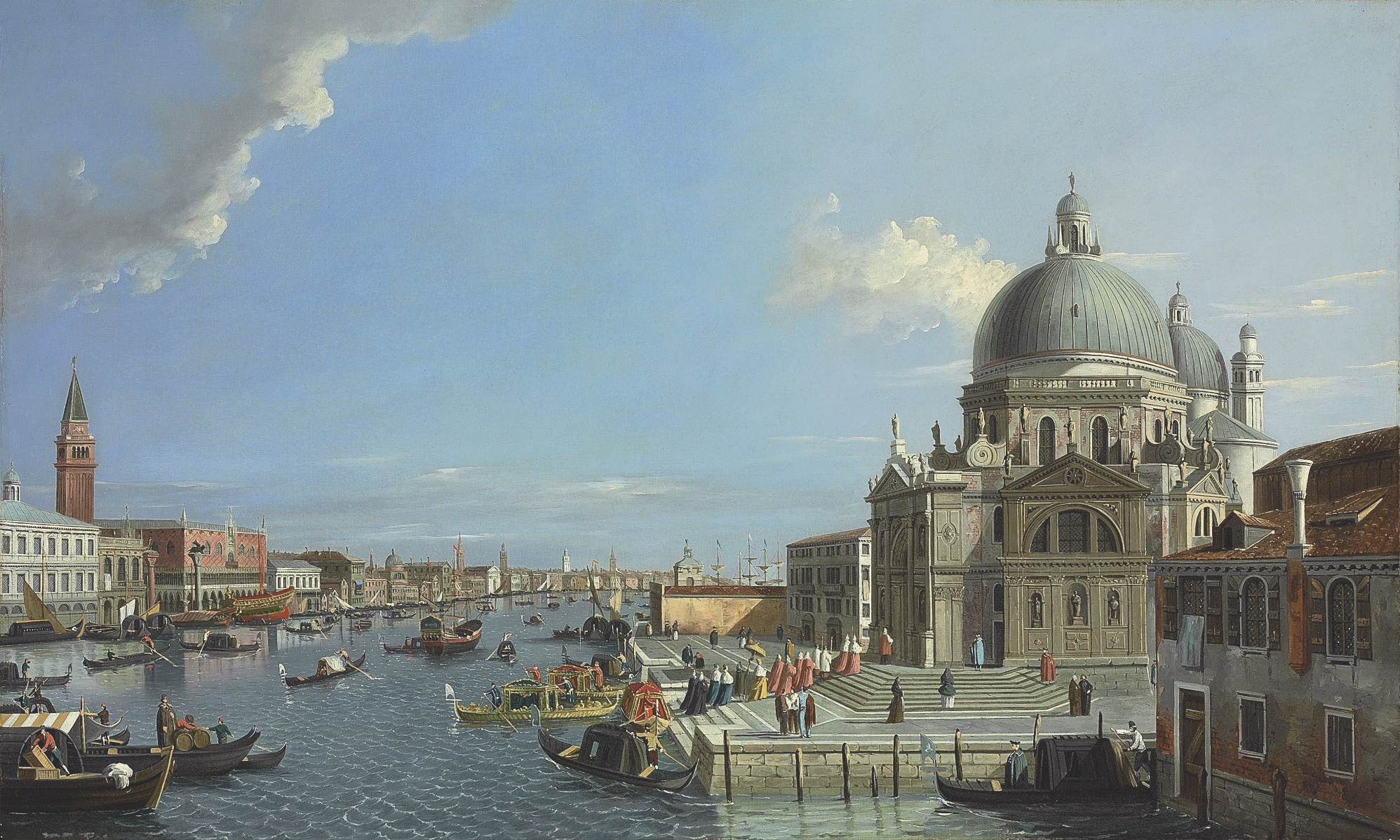 The Grand Canal, Venice, with a procession entering the Santa Maria della Salute