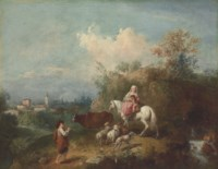 A pastoral landscape, with a woman and child on a white horse, a shepherd playing a pipe and a village beyond