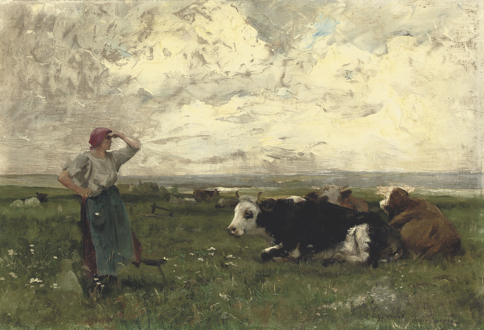 Young farmgirl with cattle