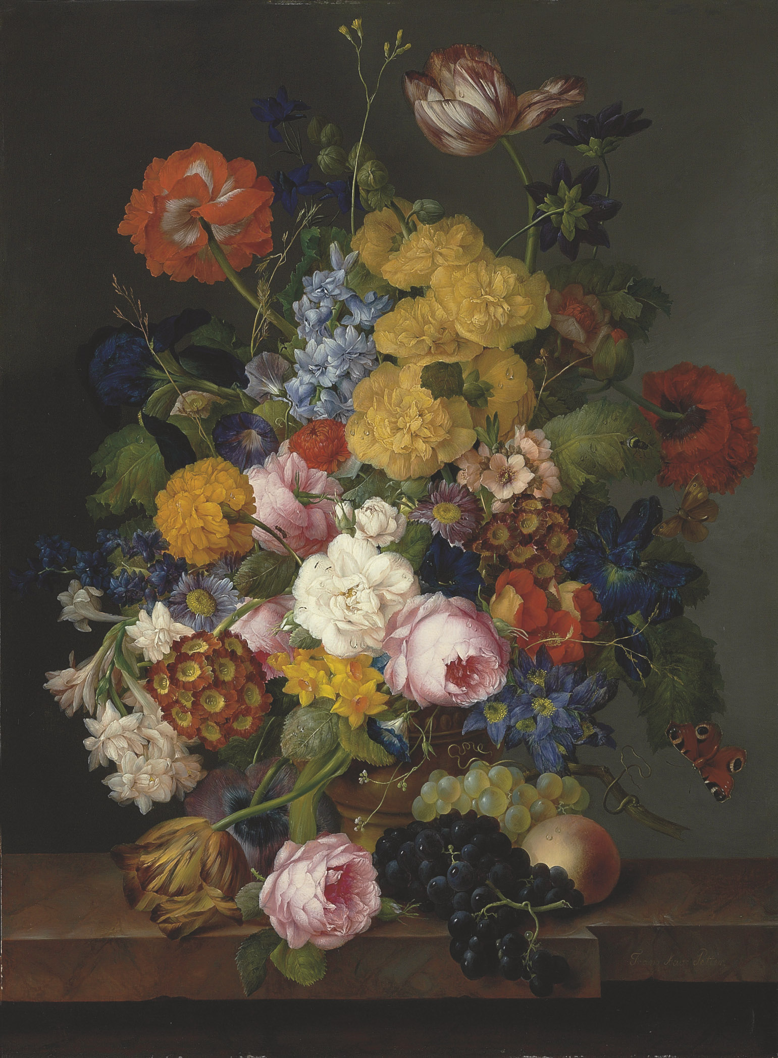 An abundant still life with spring and summer flowers in an urn, with fruit, on a marble ledge