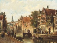 Figures on the banks of a canal