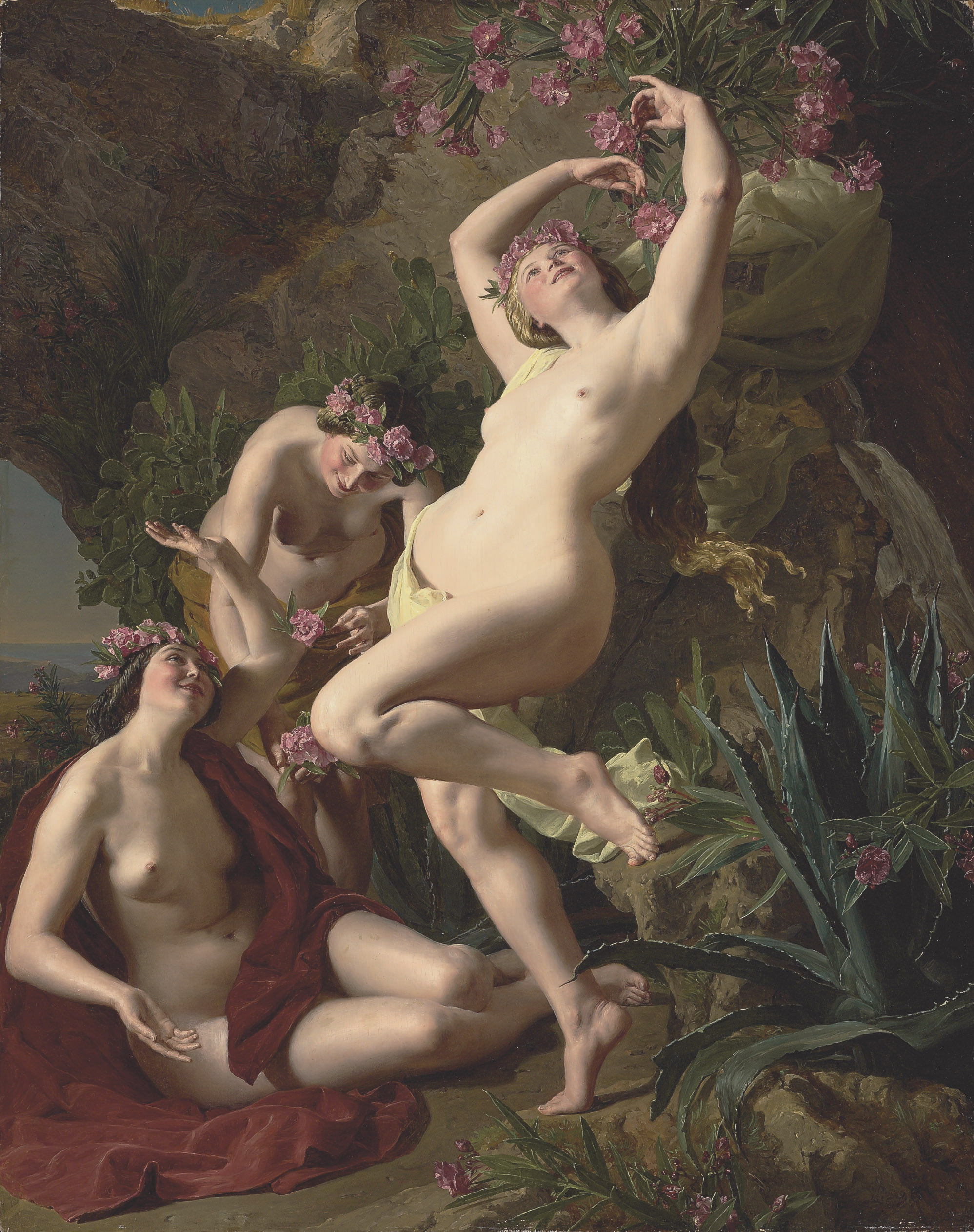 Three graces garlanded with roses