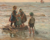 Children playing on a raft