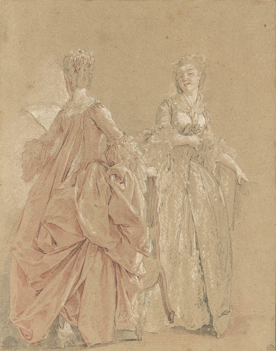 Two ladies in elegant costume: Study for 'The Harpsichord Lesson'