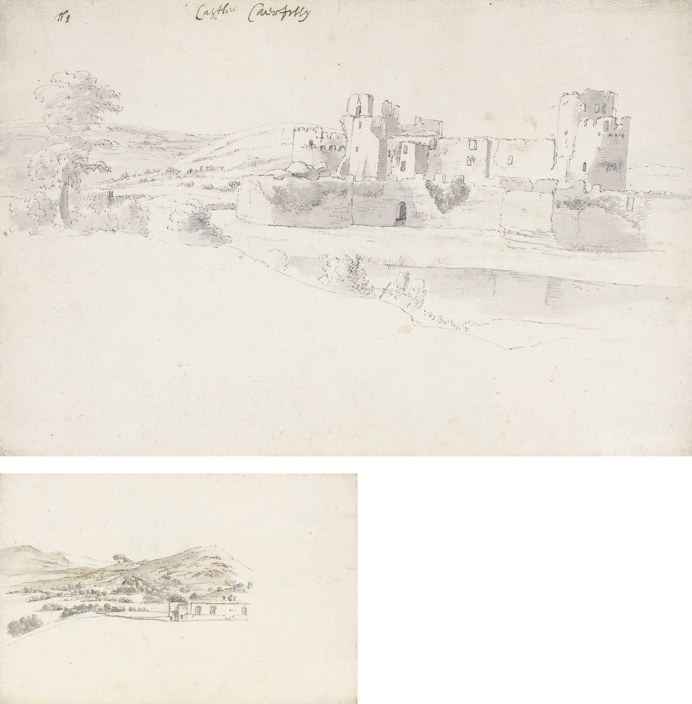 Caerphilly Castle, South Wales (recto); and A study of part of the Castle from the north-east (verso)