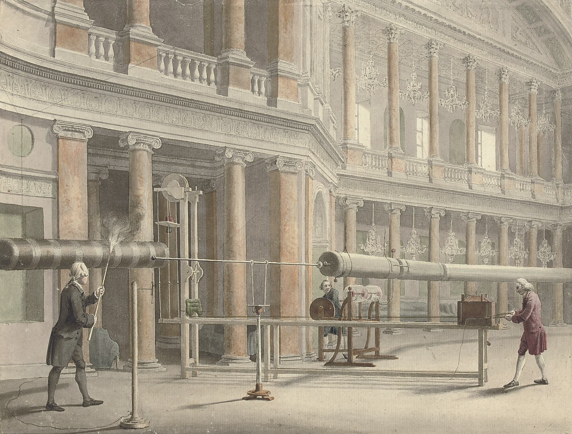 The interior of the Pantheon, Oxford Street with Mr Wilson's experiments with an electrical machine