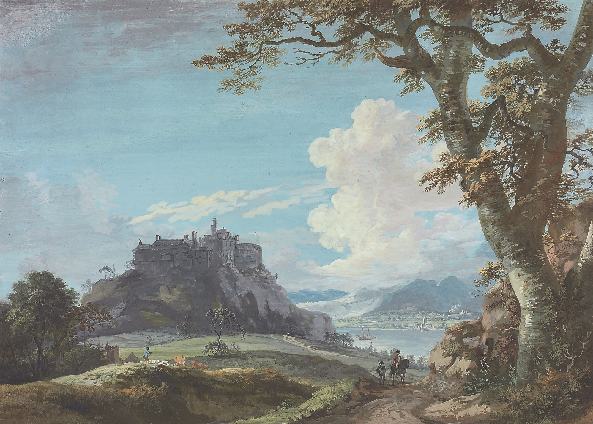 View of Stirling Castle, Scotland, with a drover and a traveller on horseback in the foreground