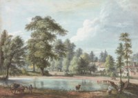 A village pond with cattle watering, possibly Nuneham Courtenay, Oxfordshire