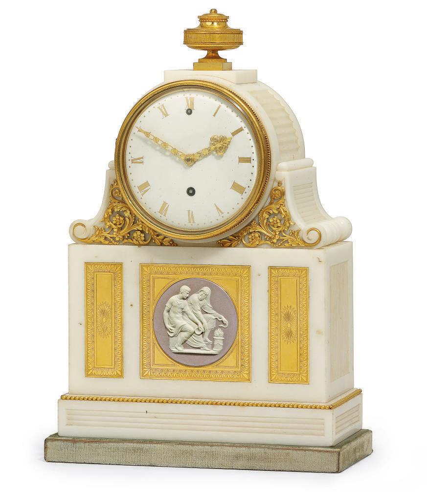 A GEORGE III ORMOLU AND JASPERWARE-MOUNTED WHITE MARBLE TIMEPIECE MANTEL CLOCK