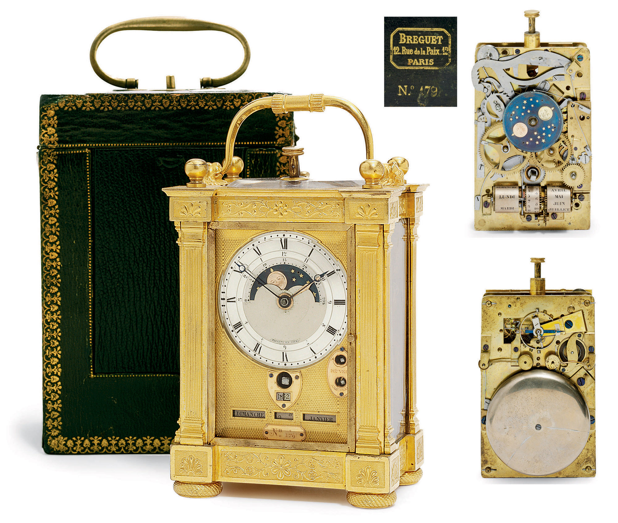 AN IMPORTANT EMPIRE ORMOLU QUARTER-REPEATING TIMEPIECE CARRIAGE CLOCK WITH FULL YEAR CALENDAR, MOON PHASE WITH AGE OF MOON AND ALARM